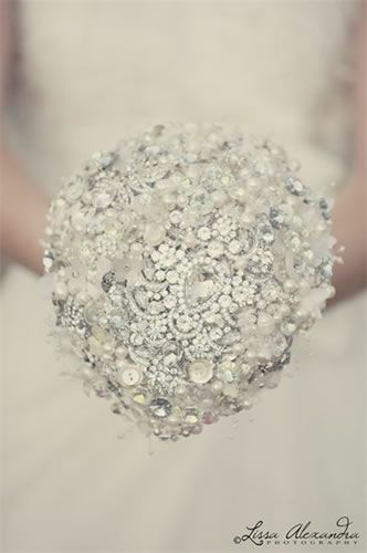 Love Bouquet also make designs with silk flowers incorporating their trademark crystals and pearls.