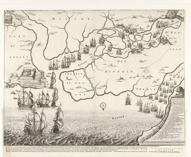 Michiel Comans (II) | Kaart van monding van de Theems met de tocht naar Chatham, 1667, Michiel Comans (II), Pieter Arentsz, 1667 | Kaart van monding van de Theems waarop de tocht naar Chatham door de schepen van de Staatse vloot onder admiraal De Ruyter is aangegeven, 20-23 juni 1667. Links de strijd rond Sheerness, boven de Hollandse schepen op de rivier de Medway. Rechtsonder een leeuw op een voetstuk waarop de legenda A-V. Bij de plaat behoort een tekstblad.