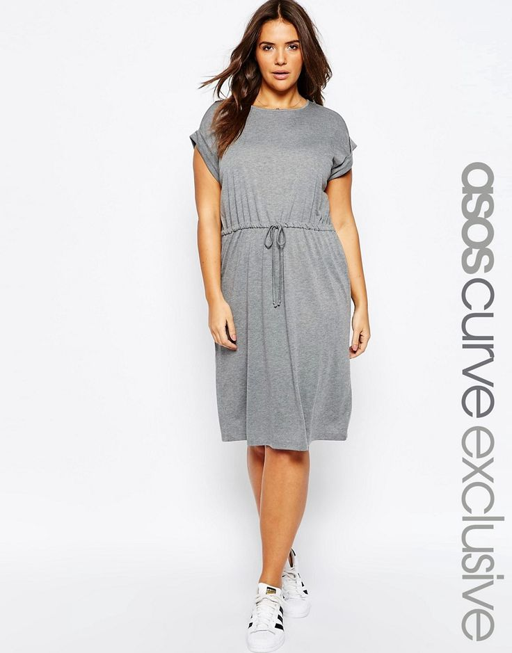 Image 1 of ASOS CURVE T-Shirt Dress with Tie Waist