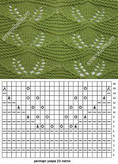 Узор: ажурные листья на фоне платочной вязки | каталог вязаных спицами узоров