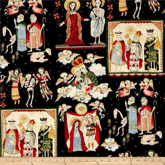 Los Santos tela de Alexander Henry tela de algodón tela negra tela de patchwork esqueletos navidad calaveras