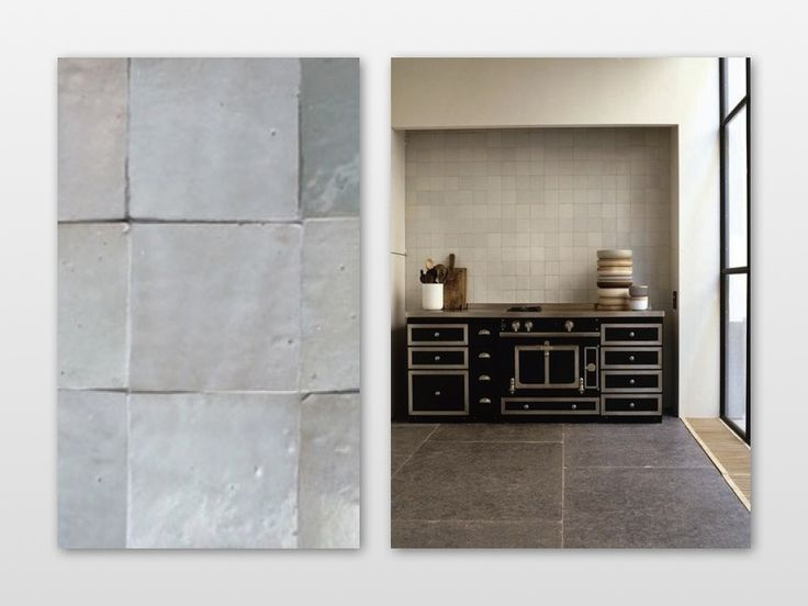 moroccan zelliges hand cut and hand glazed tiles of terracotta clay, irregular shapes and finish. As used here in kitchen by Vincent Van Duysen
