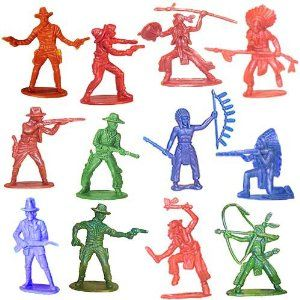 Amazon 144 count Cowboy and Indian figurines $8.00 - could be spray painted blue & gold (Decor)