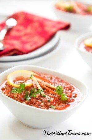 At only 75 calories, this Chunky Weight Loss Soup is a magical dish! It helps to increase your produce intake while decreasing your appetite. Enjoy delicious, chilled fruit and veggie gazpacho with every sip. Click for the full directions.
