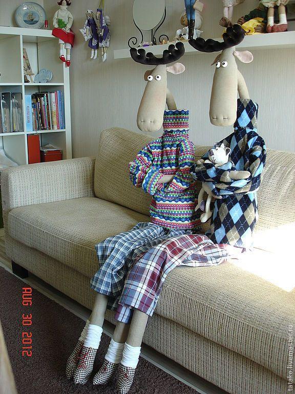 Купить кукла интерьерная Веселые лоси. - лось, интерьерная кукла, лосяш, веселый подарок