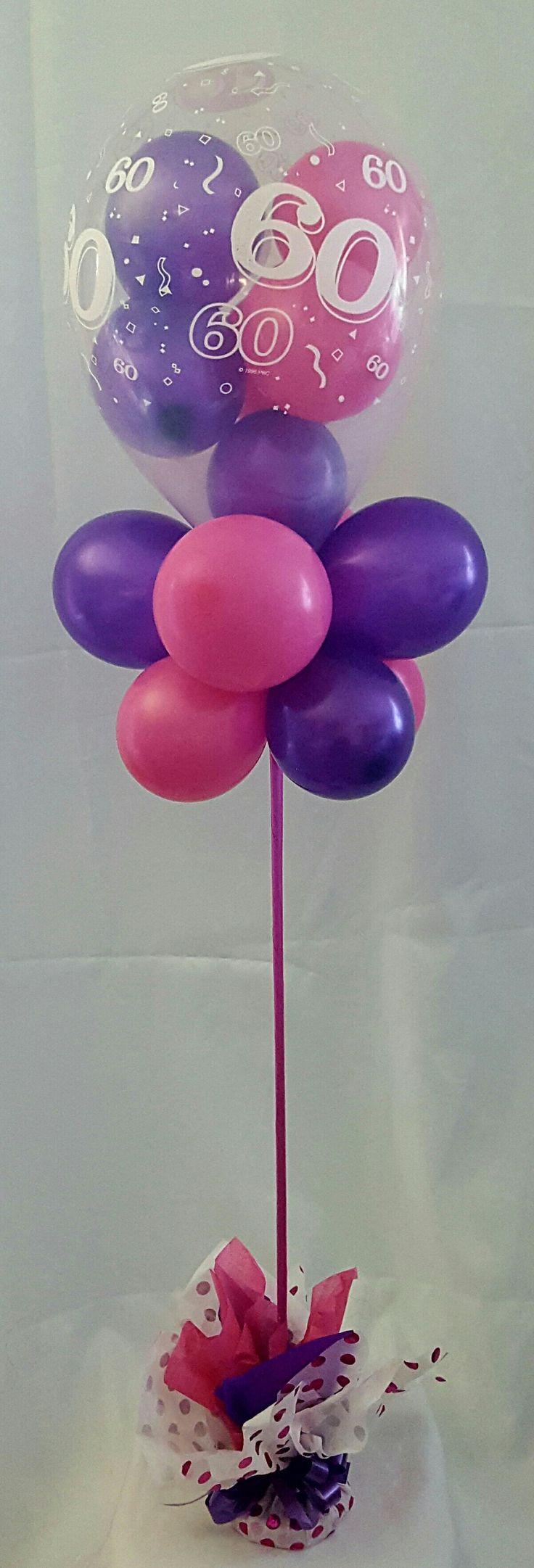 60th balloon topiary with little balloons inside latex balloon #partysolutions #huntervalley