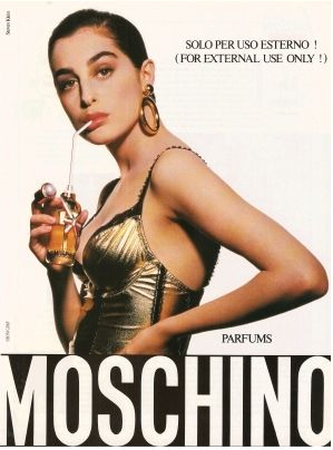 Moschino ... for external use only! ... 1987 ad for Franco Moschino's original eponymous Moschino perfume