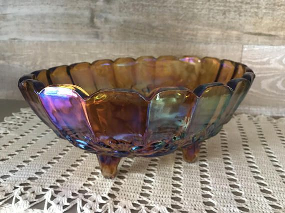 Carnival Glass Large Amber Glass Fruit Bowl Grapes Apples