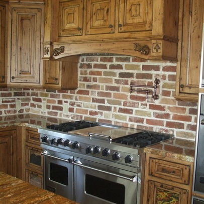 brick kitchen backsplash design  pictures  remodel  decor