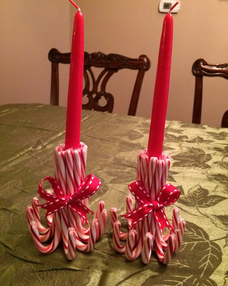 Candy cane candle homemade crafts pinterest candy for Candy cane holder candle centerpiece