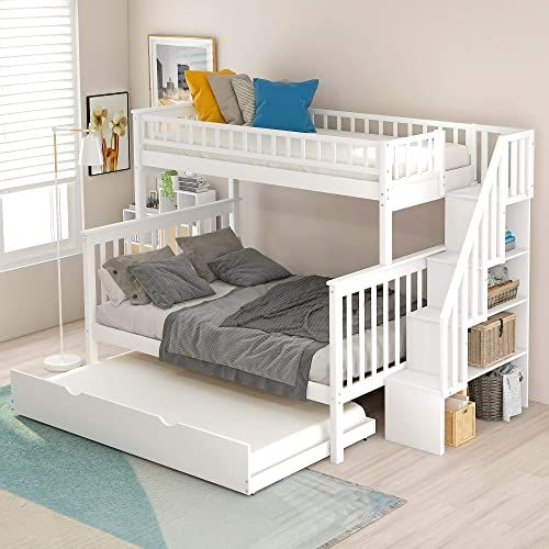 Great For Twin Over Full Bunk Bed With Trundle And Stairs Weyoung Wood Stairway Twin Full Bed Frame Wit Bunk Beds With Storage Bunk Bed With Trundle Bunk Beds Bunk beds with trundle beds