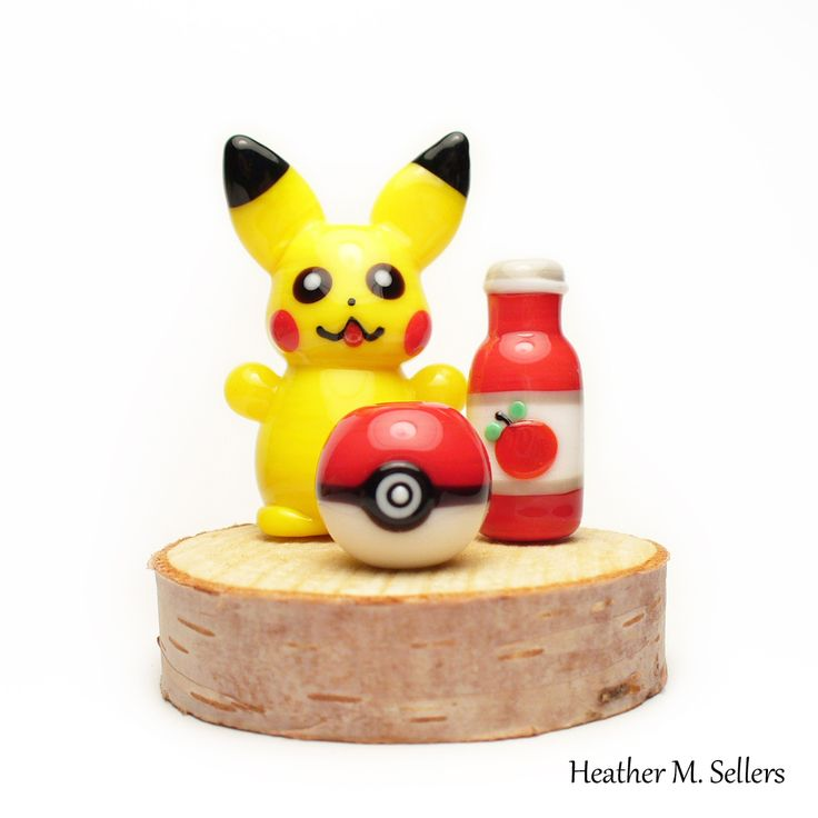 Pikachu inspired flamework glass sculpture by Heather Sellers.  Love the new Pokémon Go game.  #Pikachu #pokemon #Pokémon #ketchup #pokeball #pokemongo