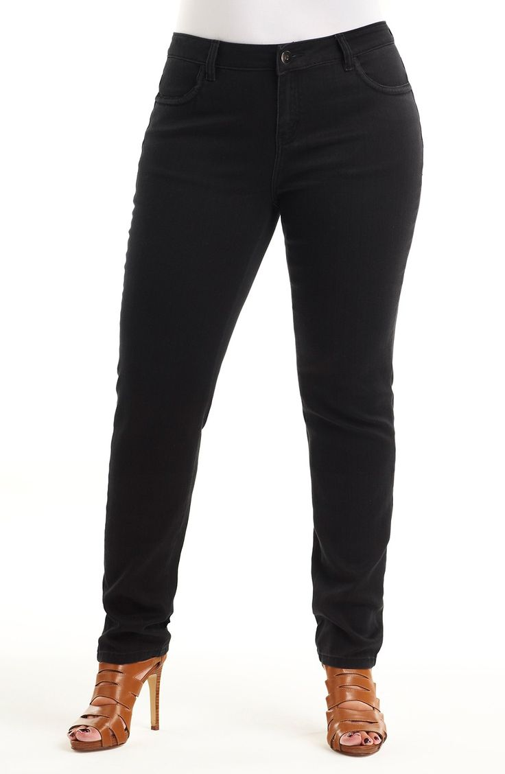 Skinny leg black jean/black Style No: J3057 Black stretch denim skinny leg jean. This clean skinny is the perfect black jean! #plussize #dreamdiva #dreamdivafiles #fashion