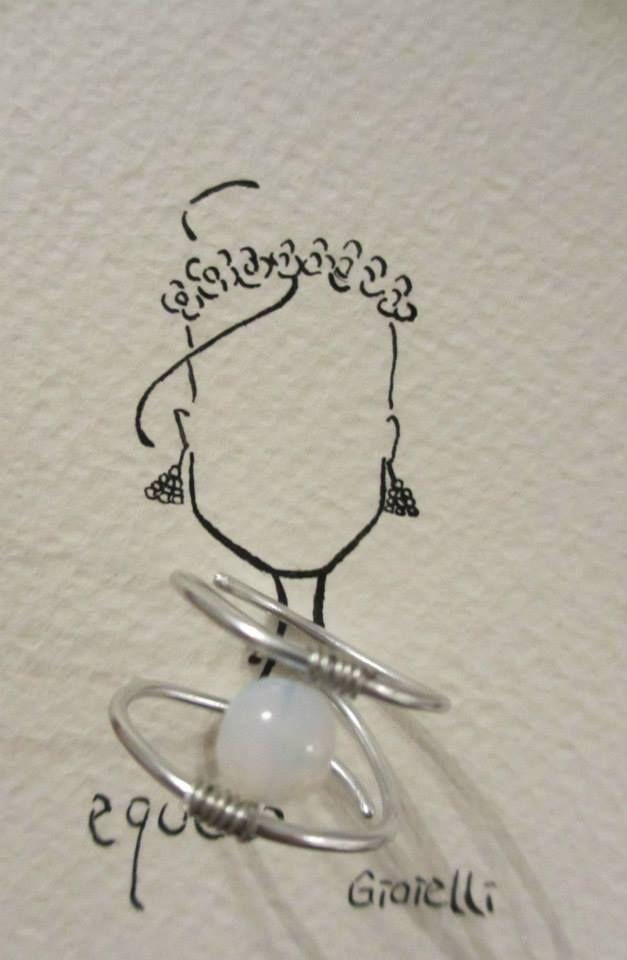Anello con pietra bianca e alluminio /Ring with white stone  #ring #fashion #colorful #handmade #bohemianjewelry