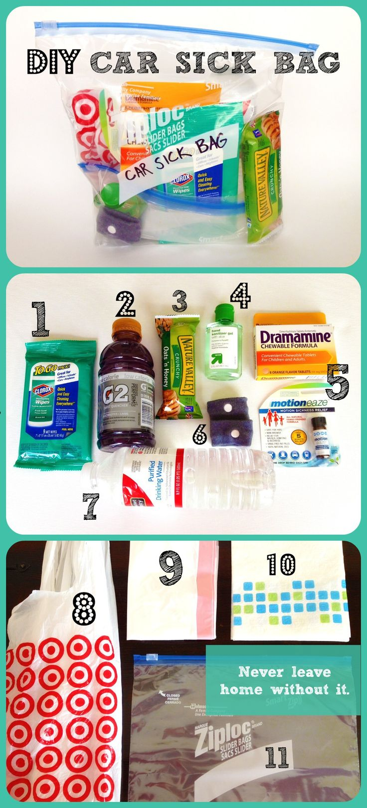 DIY Car Sick Bag:  Great addition to a car kit for emergencies!
