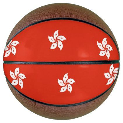Fullsize Basketball with Flag of Hong Kong - kids kid child gift idea diy personalize design