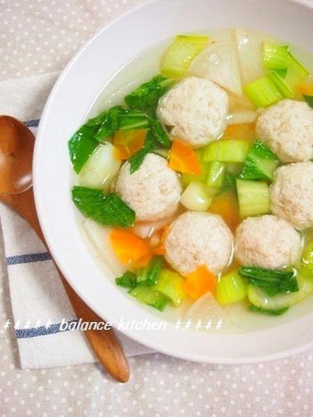 えのき入りふわふわ鶏だんごとたっぷり野菜のスープ by 河埜 玲子 ...