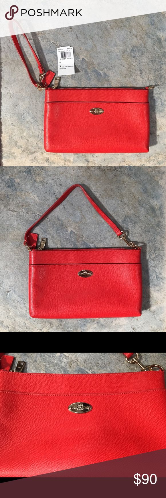 """Coach Clutch Wristlet Cardinal Red Coral AUTHENTIC Coach Clutch Wristlet Cardinal (Red Coral) AUTHENTIC! No. B1521-F53014 Pop Up Pouch *missing pop up! Approx . measurements 10"""" x 6"""" x 1"""". Purchased in 2015. NEW with Tags! NEVER USED! Smoke & Pet-free home. Retail $165! Coach Bags Clutches & Wristlets"""