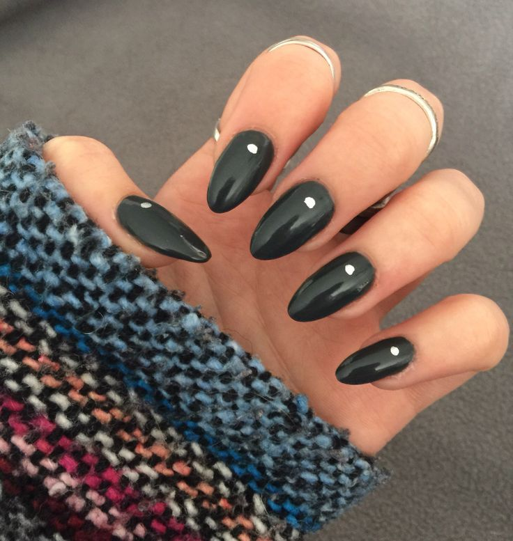 Long dark gray almond shaped nails with silver dot design. Super easy and cute :) Follow me at @jesswinston95 for more nail designs :)