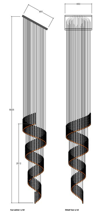 commande en cours d 39 un lustre design monumental fabrication artisanal pour un escalier lustre. Black Bedroom Furniture Sets. Home Design Ideas