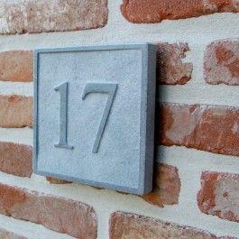 Natuursteen huisnummer 15 x 15 cm