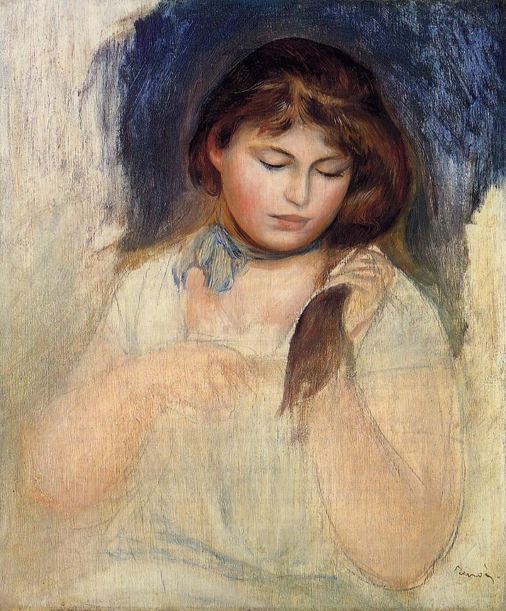 Head of Gabrielle, sketch and study, 1895. Private Collection - Pierre-Auguste Renoir, 1895. Private Collection - Pierre-Auguste Renoir