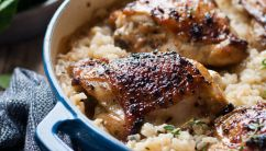 One Pot Creamy Parmesan Garlic Risotto with Lemon Pepper Chicken