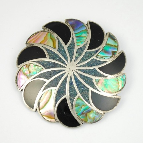 Vintage Mexican Silver Abalone Pendant Brooch Pin Signe | eBay