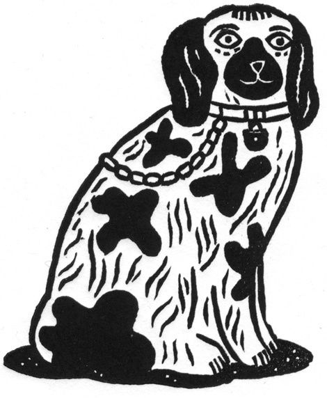Staffordshire Dog - i love all of christopher browns lino prints