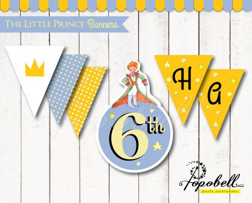 The Little Prince Banners for The Little Prince birthday. Le Petit Prince Circles Bunting for DIY Le Petit Prince Party. DIGITAL.