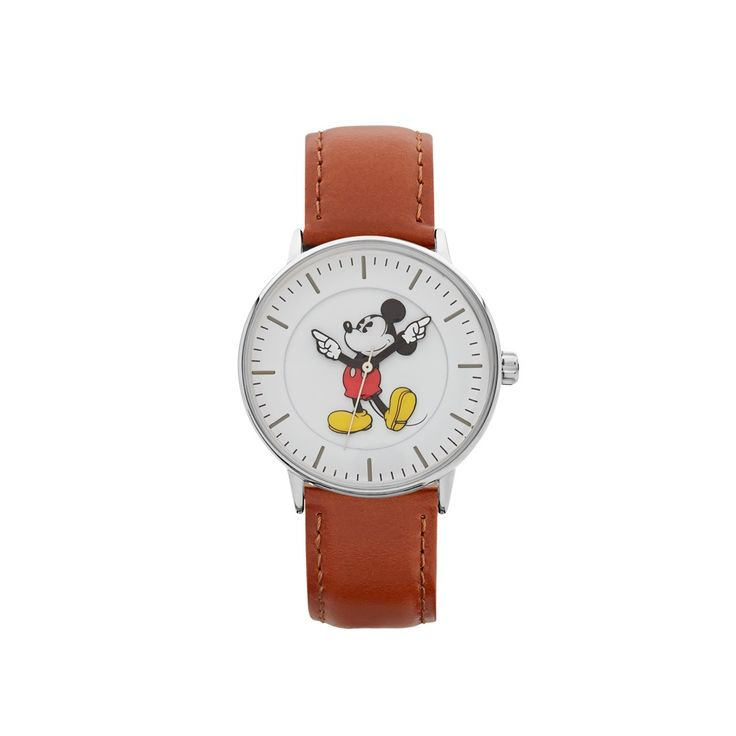 The Original Mickey Collection Watch - Silver + Tan 36mm