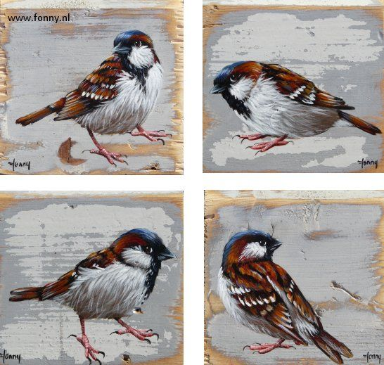 Huismussenserie / Sparrows series 2 - 1 t/m 4 - à 10 x 10 cm | vogel | oud hout | schilderij | dieren | bird | old wood | painting | animals |