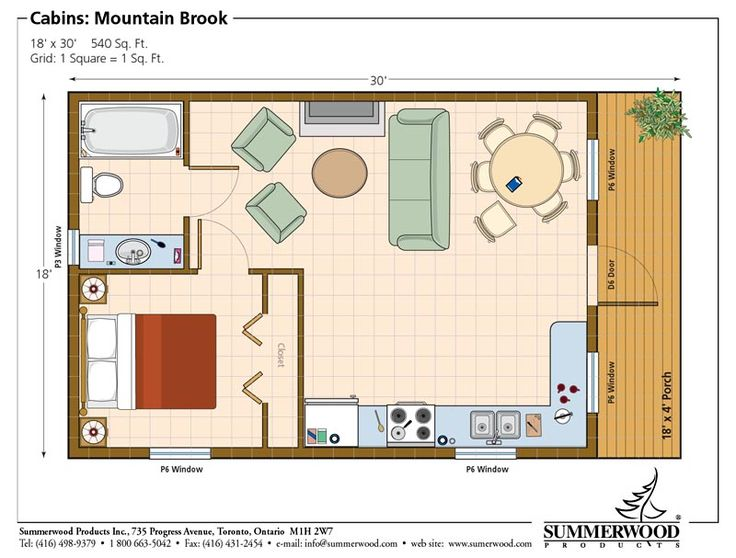 One room cabin floor plans studio plan modern casita One bedroom cottage plans