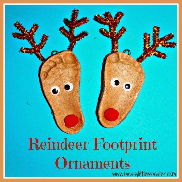 Messy Little Monster: Reindeer salt dough footprint ornaments.  Christmas crafts for kids, babies, toddlers, preschoolers, early years, eyfs.