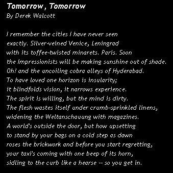 Tomorrow, Tomorrow by Derek Walcott