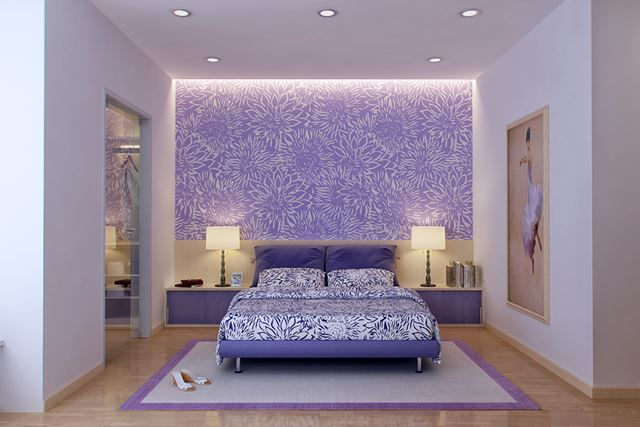 Modern Purple and Beige Bedroom by Vu Dang Khoi