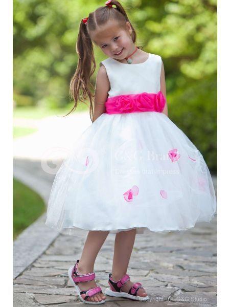 Vestiti Cerimonia Bambini Tulle Rosa Chiaro Fiocco Romantico GGKD100078