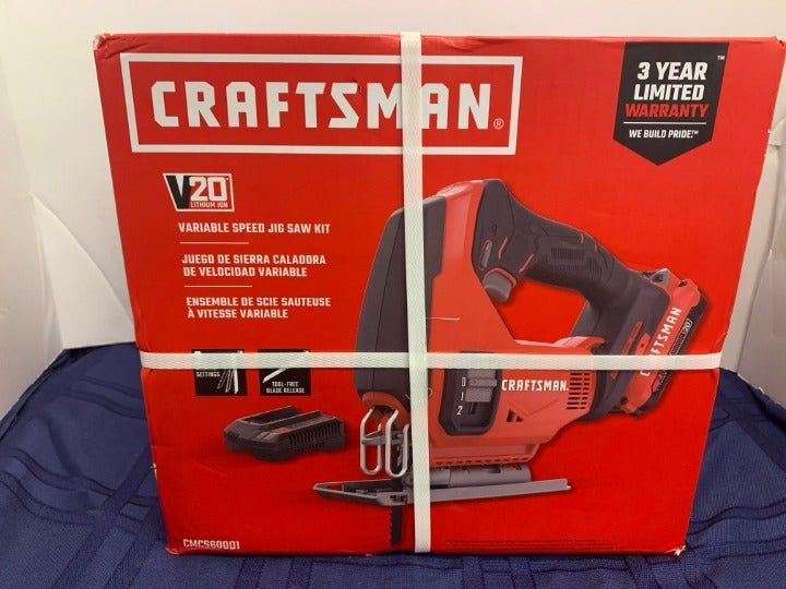Craftsman 20 Volt Max Variable Speed Keyless Cordless Jigsaw Battery Included New In Box Free Shipping Within 1 Business D Craftsman Tools Craftsman Keyless