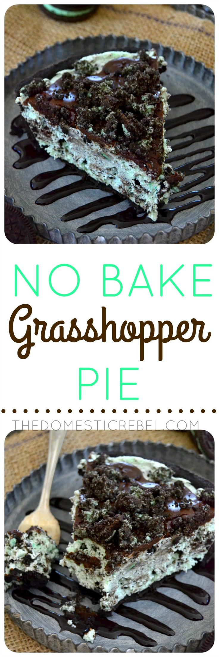No Bake Grasshopper Pie | The Domestic Rebel | this is SO easy, SO creamy and SO fluffy! Packed with bright mint flavor, Oreo pieces and a chocolate ganache topping that's to die for!