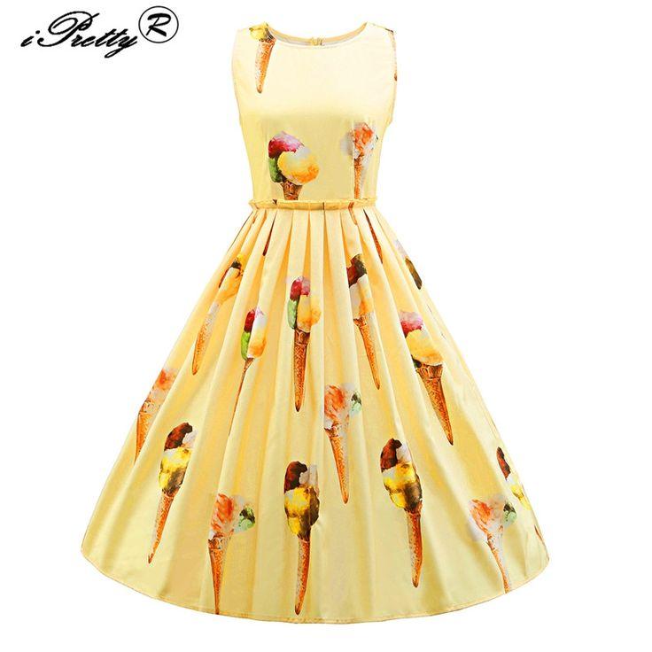 IPretty Femmes Vintage Robe D'impression Rétro Robe O Cou Audrey Hepburn 50 s Grand Swing Gâteau Design Plus Taille Feminino robes
