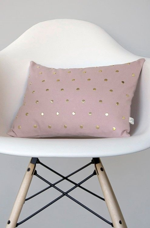 Studded Pillow Cover in Blush Linen in Polka Dot Pattern by JillianReneDecor | Geometric Pillow Home Decor Gold Brass Studs | Rose Quartz