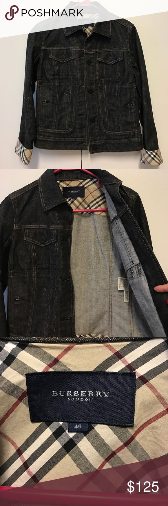 Burberry Denim Jacket Size EU40 or US8 Purchased this from a consignment shop in Japan for a friend but it's didn't fit. Nice dark denim with signature Burberry on trim under collar (so if you pop the collar it will show) and wrists. No flaws. I converted eu40 to Us size and it says it should fit a US8. Please do your own research on sizing before purchasing. Thanks ❤ Burberry Jackets & Coats Jean Jackets