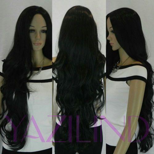 Super Long Black Wavy Curly No Bangs Cosplay Synthetic Hair Full Wig   eBay
