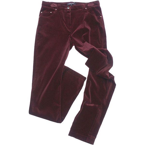 Style.Hi-Fi.Ru | Бордовые бархатные джинсы, Georges Rech ❤ liked on Polyvore
