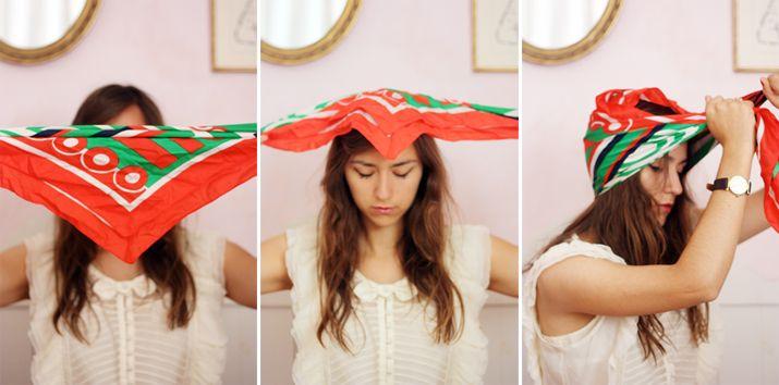 Square scarf into a turban