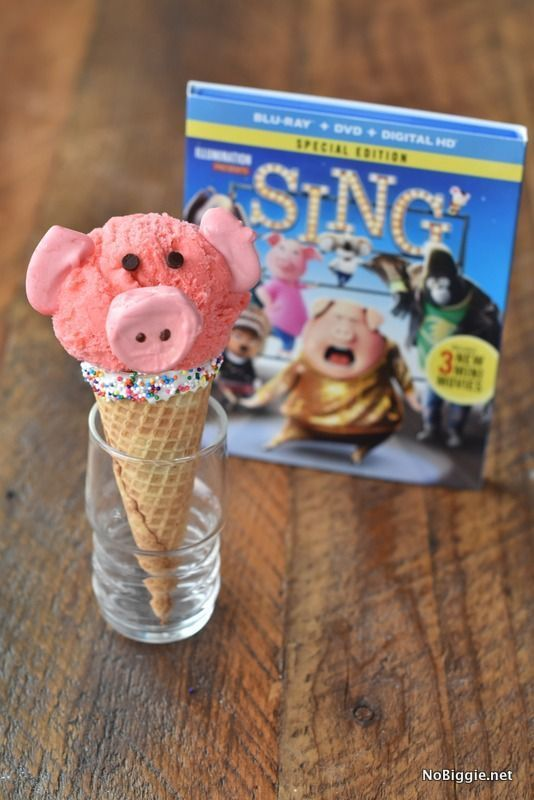 The new movie SING is finally out on Blu-Ray and DVD and in stores now! We're so excited! To celebrate the new release we made cute Rosita the Pig Ice Cream Cones. #SingMovie #SingSquad #ad