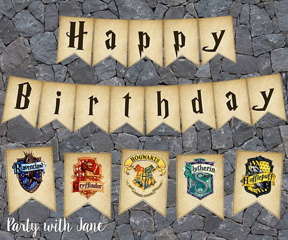 Harry Potter Happy Birthday Sign Banner Bunting Flags, Hogwarts, Slytherin, Gryffindor, Ravenclaw, Hufflepuff, Printable, Decoration Party