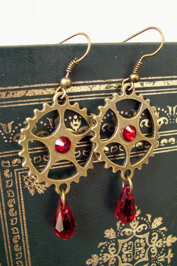 Steampunk Earrings (E403) - Brass Gears and Red Siam Swarovski Crystal - Dangle Style