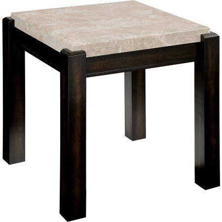 Furniture of America Starken Marble End Table, Multiple Colors, White