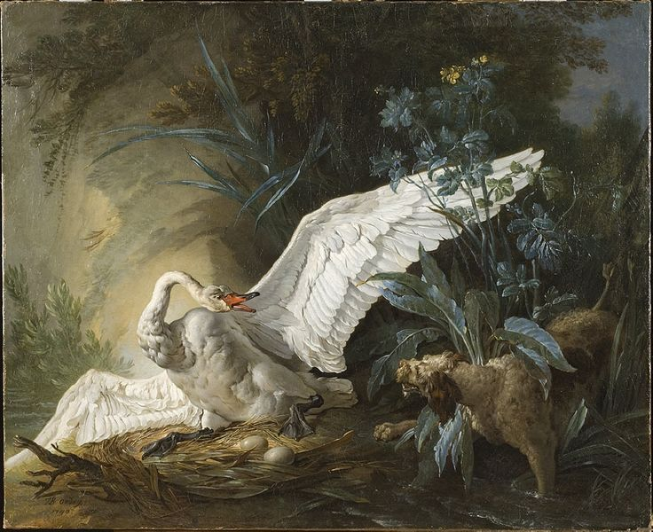 Spaniel surprising a swan in its nest | Jean-Baptiste Oudry | 1740 | Nationalmuseum, Sweden | CC BY-SA